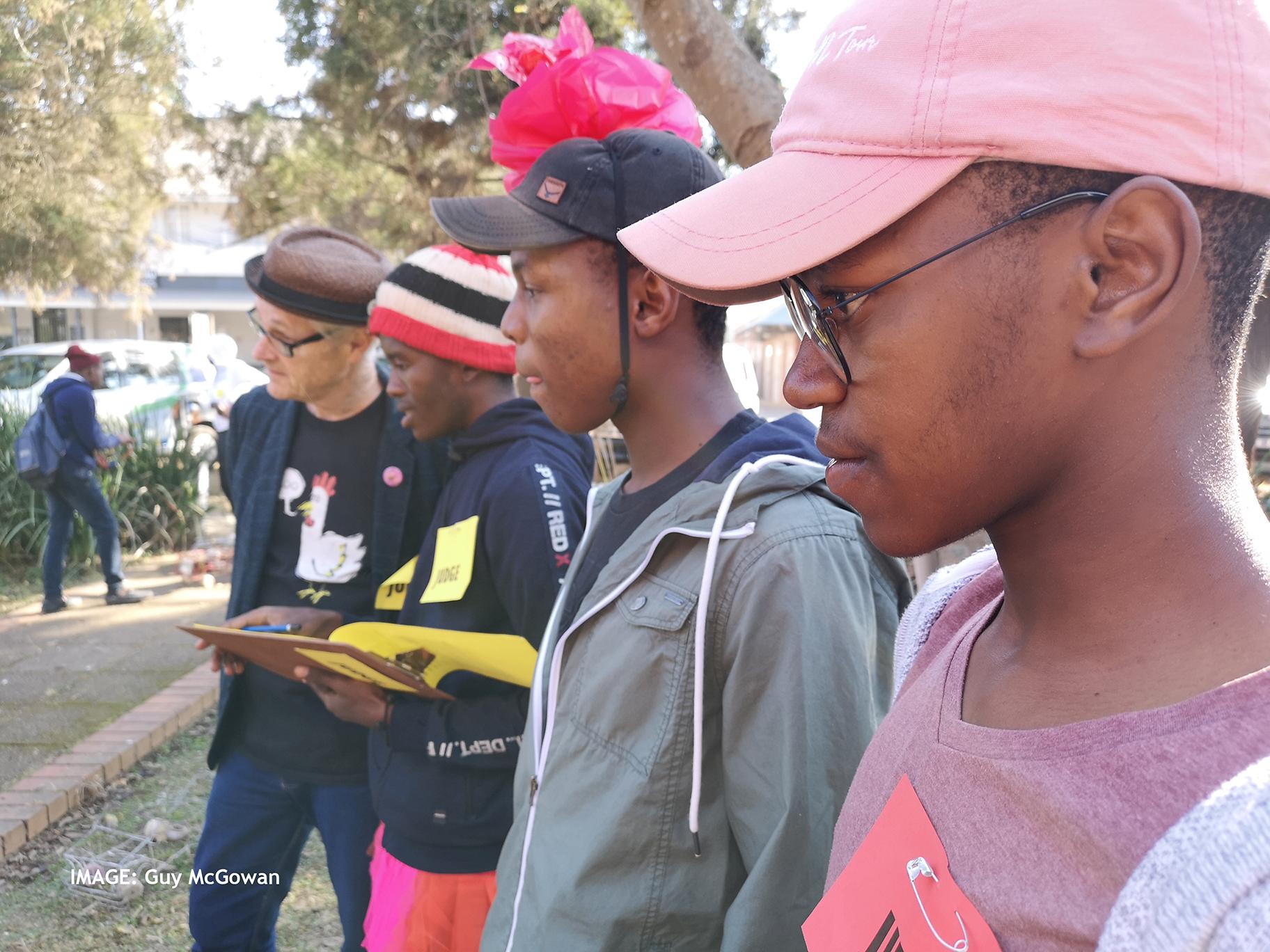 Judges Barry Downard, Mzwa Mokoena, Philani and Sihle Ngcobo at Trashion Show 2019 Howick KZN Midlands
